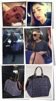 gagafashionland:  Gaga debuts #VuittonBrown hair. And dazzling Vuitton bag. Click on the pic for more.