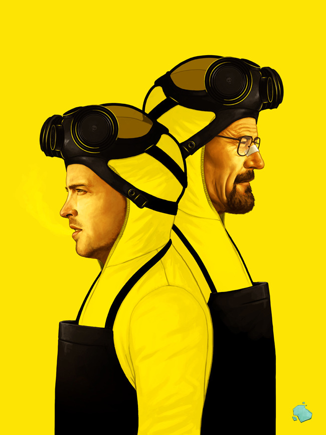 laughingsquid:  sirmitchell:  Here's my other piece for the Breaking Bad Art Project which opens tonight at Gallery 1988 Melrose.  It's an 18x24 archival giclee edition of 50.   More Info: Breaking Gifs Presents The Breaking Bad Art Project at Gallery1988 Pretty amazing.