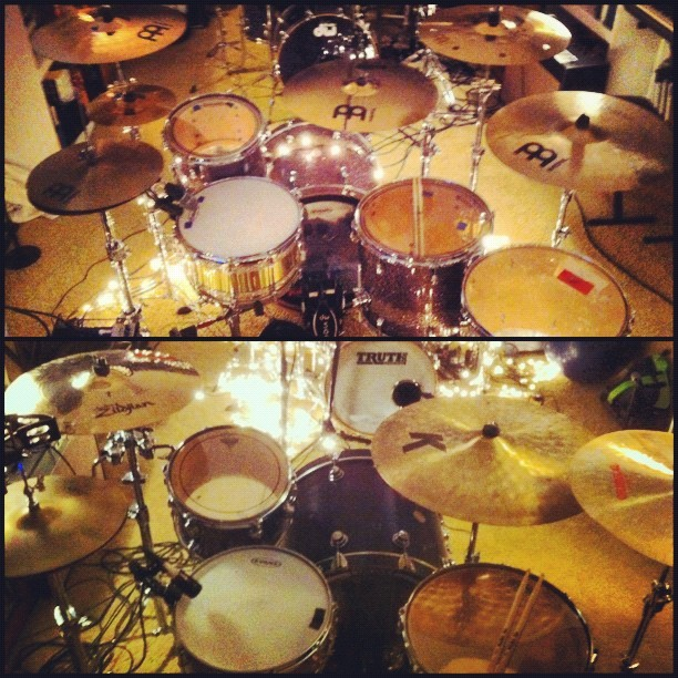 Drum heaven. #Truth #DW #SJC #Gretsch #Zildjian #Meinl  (Taken with Instagram at The Cave)