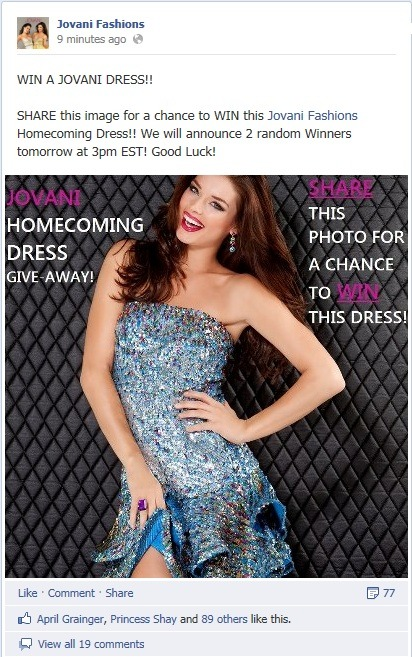HEAD TO OUR FACEBOOK PAGE FOR A CHANCE TO WIN A JOVANI HOMECOMING DRESS!