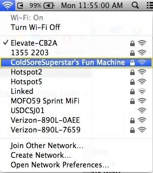 The available Wi-Fi options for court spectators at Apple v. Samsung today. (via @Josh)