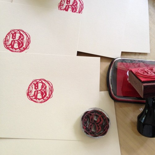 Stamping out my own stationary for Thank You notes… #DIY #Stamps #Writing #Letters (Taken with Instagram at Burdock & Rose)