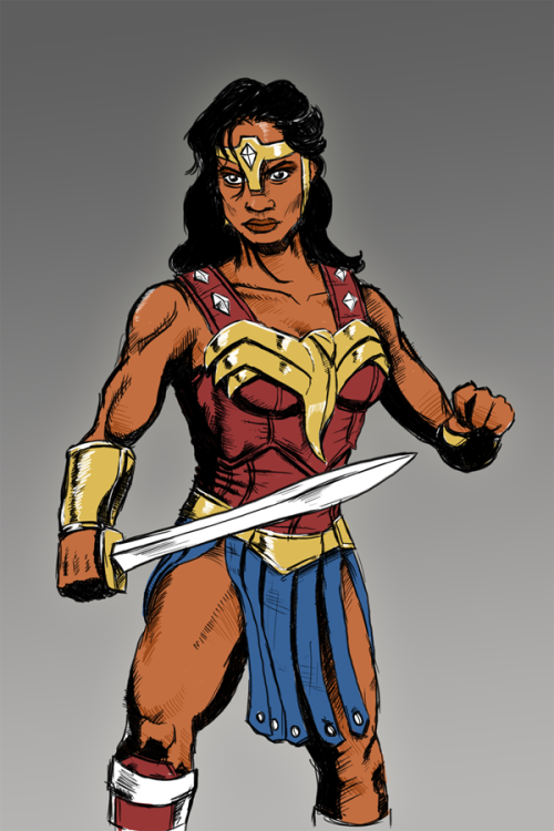 I think Rosario Dawson would be lovely as a movie version of Wonder Woman, and I was inspired to try to capture that after I read a list of pretty generic casting choices for an upcoming movie version of Wonder Woman. Submitted by: Jason