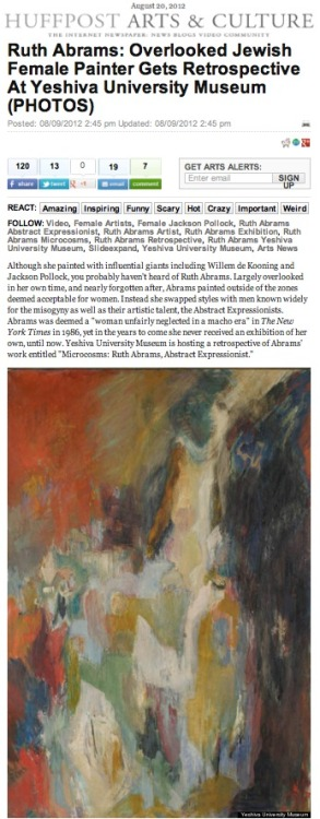 Check out this HuffPo article featuring the works of Ruth Abrams, an artist that went from forgotten to remembered.