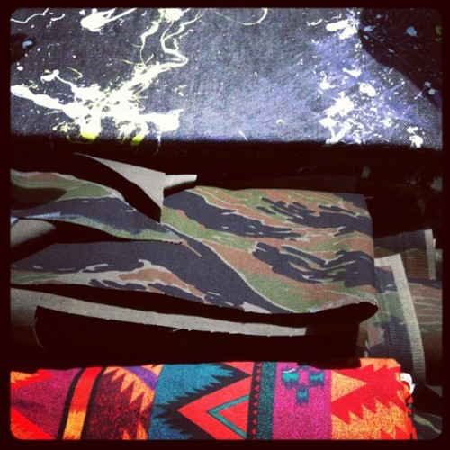 #dope #fabric and #pattern combos for these new #customcamopants #holystitch #denim #sewing #custom #sf #centralmarket  (Taken with Instagram at Holy Stitch! SF)