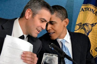 "entertainmentweekly:  The First Bromance, ladies and gentlemen:  ""[Clooney is] very protective about not bothering me. And he's also sensitive to the fact that, you know, if he's around a lot, then somehow it'll be tagged as 'Obama hanging out with Hollywood stars,' and that's not who he is.""   This made me giggle a lot."