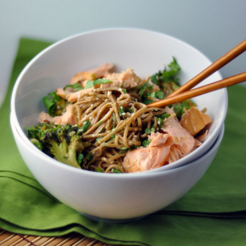 Soba Bowls with Tea-Poached Salmon