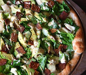findvegan:  Vegan Caesar Salad Pizza!