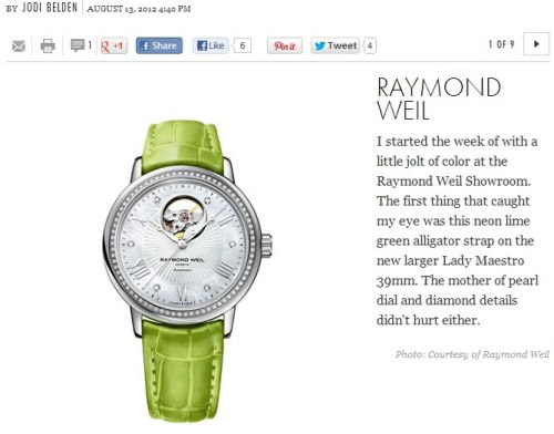 Jodi Belden at Elle Accessories falls for the RAYMOND WEIL Lady Maestro! Check out the watch here: http://ow.ly/d6s7Y You can also read her post here: http://ow.ly/d6tCn