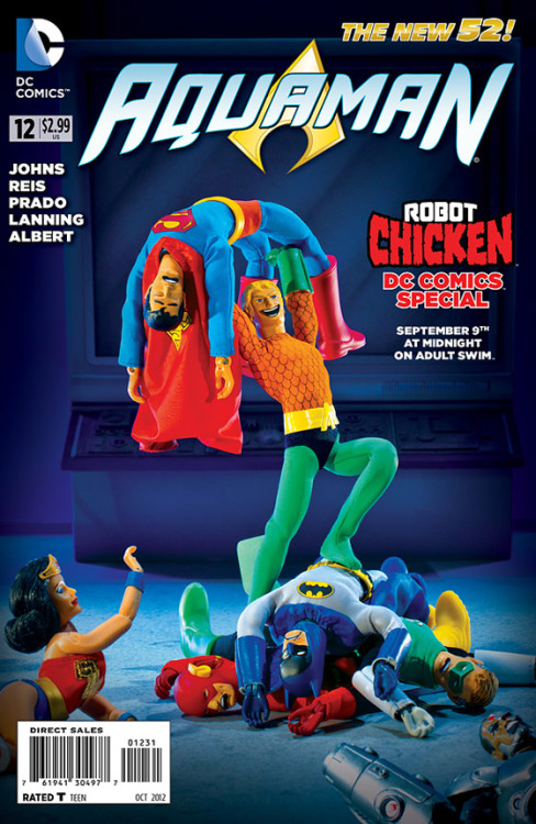 Here's a look at Aquaman #12, celebrating the Robot Chicken DC Comics special, airing September 9th on Cartoon Network.