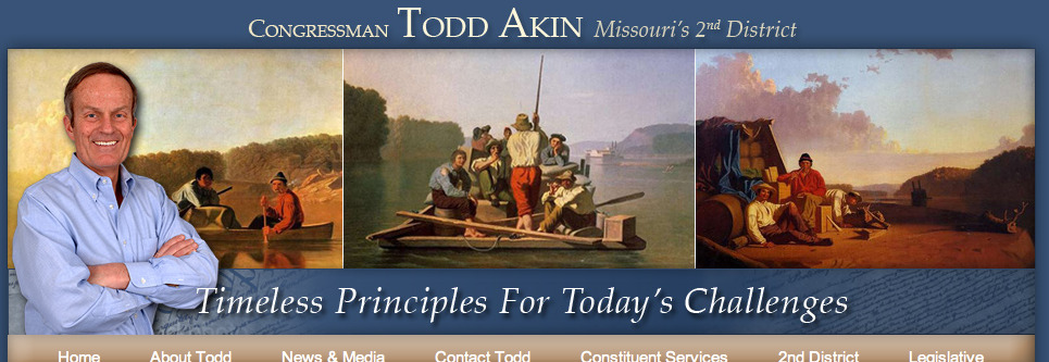 "Bag's Take-Away:  Cultured banner on Congressman Todd ""legit rape"" Akin's website a blatant contradiction of the man's tasteless bigotry. But then, you don't find a woman in any of these Tom Sawyer-ish frontier fantasies, now do you?   (photo: Todd Akin Congressional Website.)  Visit BagNewsNotes: Today's Media Images Analyzed  —————  Topping LIFE.com's 2011 Best Photo Blogs — also follow us on Twitter and Facebook."