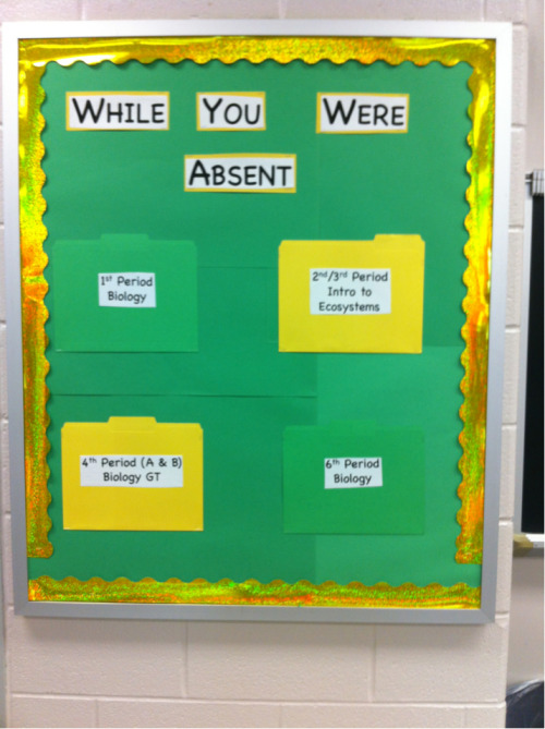 countingpetals:  yes-miss-nisa:  iamlittlei:  My first ever bulletin board! It's off center, but I give approximately zero bothers. This absent work board was my mentor teacher's best idea.  OMG IDEA. Perhaps for my form class next year, since I'm sharing one this year.  I will most definitely have to implement this when I have my own classroom.  I like this idea for a Middle School level social studies class.