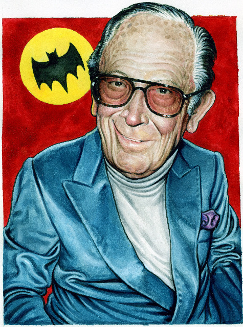 "Drew Friedman's latest ""Legends of Comics"" portrait: Bob Kane."