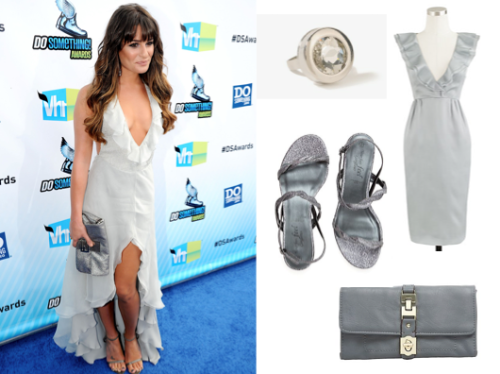 Dress Like Lea Michele: 2012 Do Something Awards Rhinestone Circle Stone Ring £3.15 Kira Dress in Silk Organaza £84.64 ($ alternative) Wide Fit Twisted Glitter Sandal £6.00 Grey Large Twist Clasp Purse £23.20 Curl your hair and sweep purple shadow on your lids to finish the look!