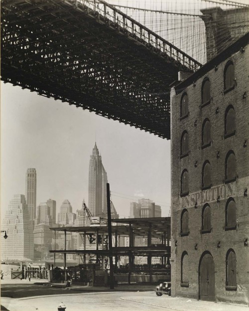 cavetocanvas:  Berenice Abbott, Brooklyn Bridge, Water and Dock Streets, Brooklyn, 1936