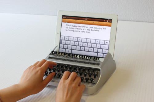 It is a typewriter for the iPad. Users can enjoy the old feeling of typing and also the lastest technology. (iTypewriter)