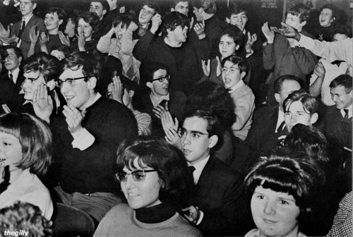 Beatles fans at the Olympia in Paris, January 1964. Scanned from Beatles Book Monthly No 8.