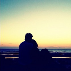 #blackpool #sunset #beach #ukig #couple #hug  (Taken with Instagram at Blackpool)