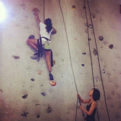 First time indoor rock climbing with @lye07 #rockclimb #toronto  #active. #gym #joerockhead (Taken with Instagram at Joe Rockhead's Climbing Gym)