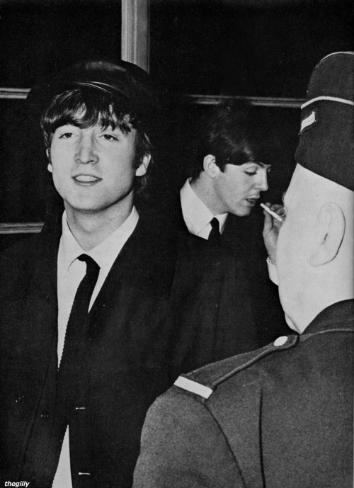 John and Paul arriving at Le Bourget airport near Paris, 14 January 1964.  Scanned from Beatles Book Monthly No 8.