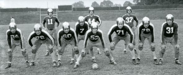 Here's a cool picture. This is a shot of the 1943 Steagles starting lineup. Due to the war NFL teams were temporarily combined because of the lack of players. That's my grandfather at center, #52.