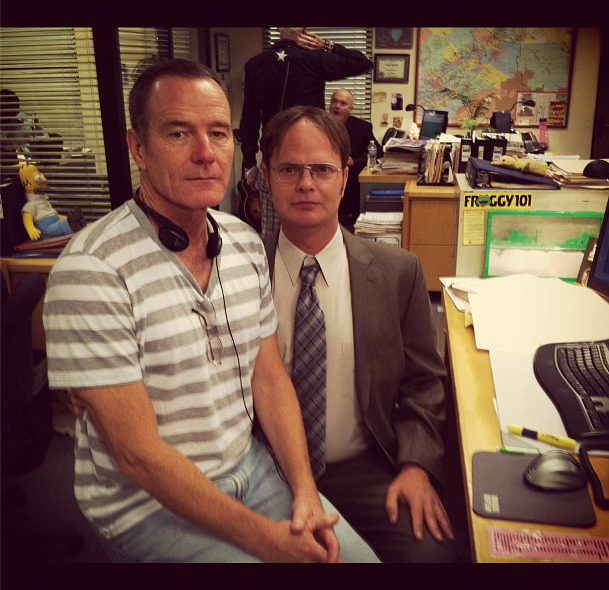 lookatthisfrakkinggeekster:  mattwilstein: Bryan Cranston is directing an episode of The Office.
