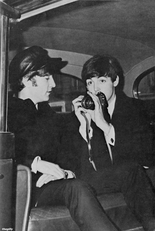 John and Paul in the car in Paris, January 1964. Scanned from Beatles Book Monthly No 8.