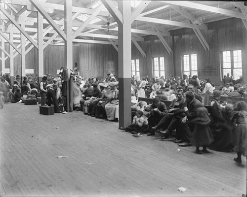 Waiting area, immigrants at Locust PointBaltimoreca. 1904-1910Unidentified photographer8 x 10 inch glass negativesBaltimore and Ohio Railroad Company CollectionBaltimore City Life Museum CollectionMaryland Historical SocietyMC4733 .2