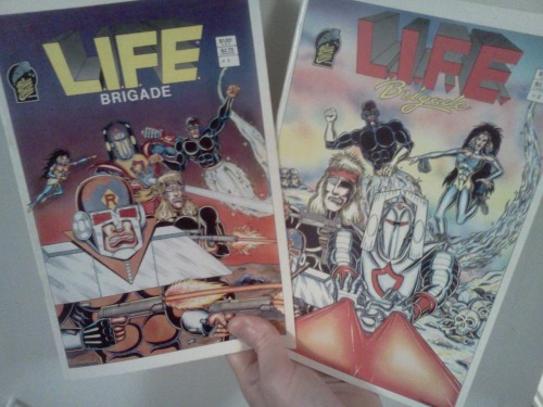 L.I.F.E. Brigade #'s 1 and 2 by C.A. Stormon, Blue Comet Comics, 1986 This is one funky '80s black n' white superhero book.  Some of the penciling is stiff, but the inks are really rich and bold.  For some reason I could relate to that.  Unfortunately, I have never read a comic more in need of an editor. Tons of simple spelling and grammar mistakes definitely interrupt the flow and make it more difficult to follow than it should be.