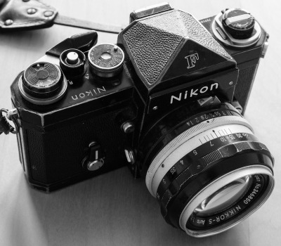 Nikon F+ Nikkor-S 50mm f/1.4. The brass is the star. Few cameras age with such marked, scared grace as a black-paint Nikon F. It just shouts: ask me what I've seen.