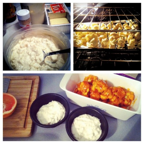 "the best dinner ever! buffalo ""wings"" and bleu 'cheese' dip #vegan #vegansofig #whatveganseat #veganfoodshare with @chlozers  (Taken with Instagram)  I used this recipe: http://86lemons.com/vegan-buffalo-bites/  I could eat this everyday for the rest of my lifeeeeee  now I just need some yummy desert! anyone wanna give me some yummy vegan cheesecake??"