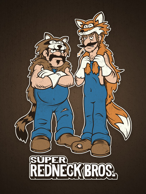 SUPER REDNECK BROS! Available as tees, hoodies, prints and iPhone cases at both RedBubble and Society6.