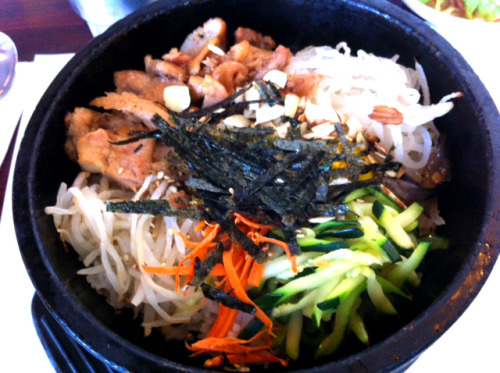 Grub-O-Meter: 4 out of 5 Bellies-Up (Pictured- Chicken Bim Bim Bop) Kong Tofu & BBQ Korean Cuisine19626 Stevens Creek BlvdCupertino, CA 95014(408) 863-0234