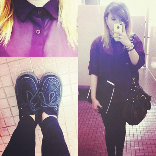 First day of school! 😱😂 #fashion #ootd #ootn #wdywt #college #iphone4 #iphonesia #iphoneology #instagood #instamood #indie #hipster #boho #lookbook #creepers #shoes #demonia #brandyandmelville #hawaii #trends #style #iger #igdaily #igaddict #tweegram #photoftheday #instafashion #instagramthatshit  (Taken with Instagram)