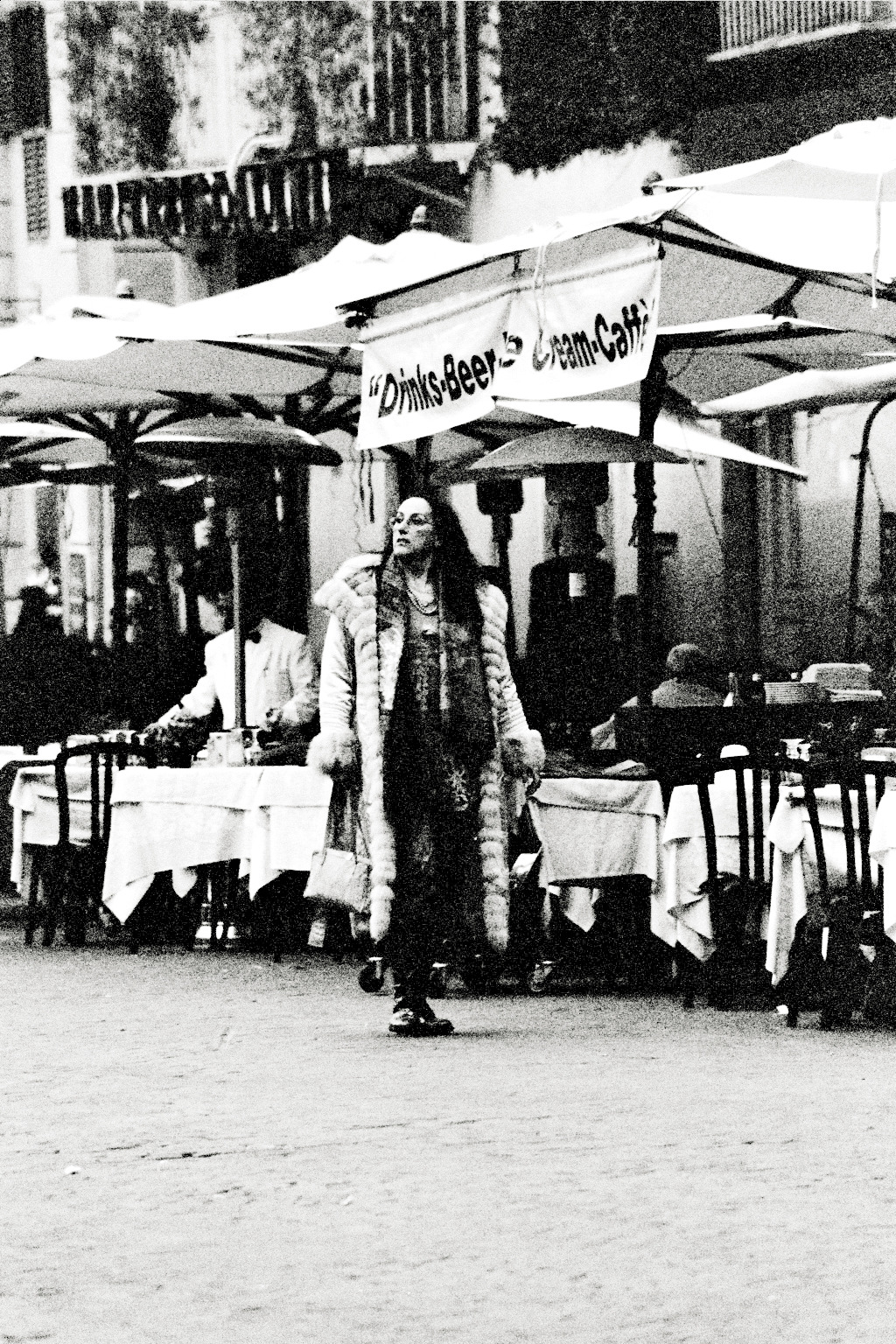 woman of rome shot on black and white film, 2008.