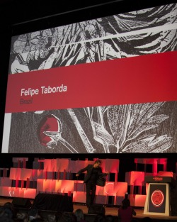 Felipe Taborda dancing his way on stage. Who says designers can't have fun?!