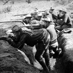American troops entrenched against revolutionaries during the Philippine War of Independence, 1899 - 1900. Library of Congress