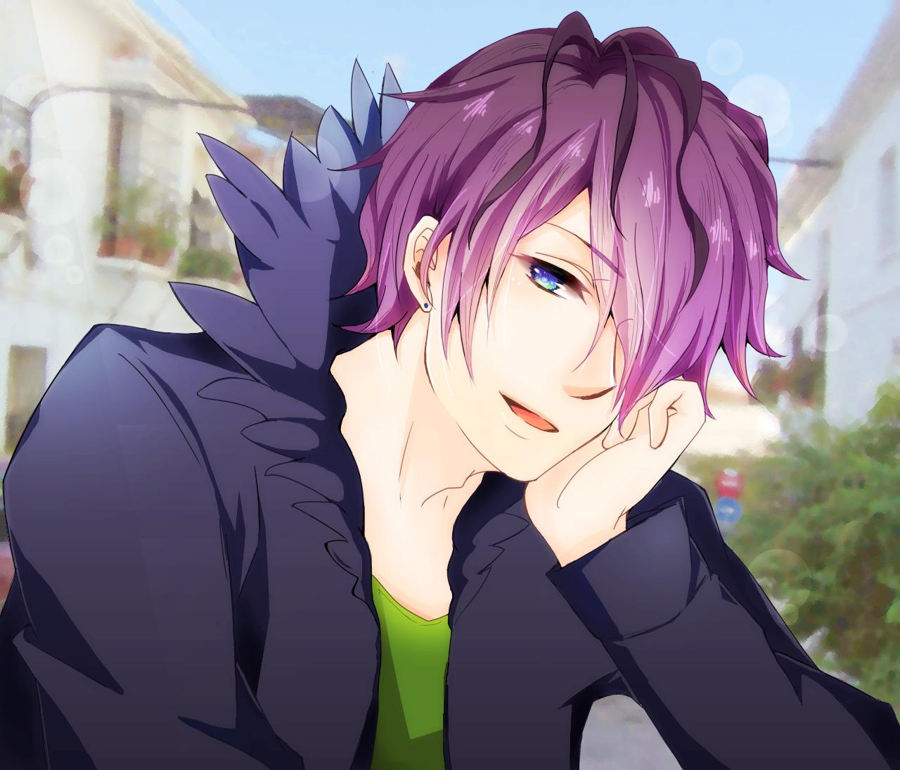 anime    Blue Hair Ani...