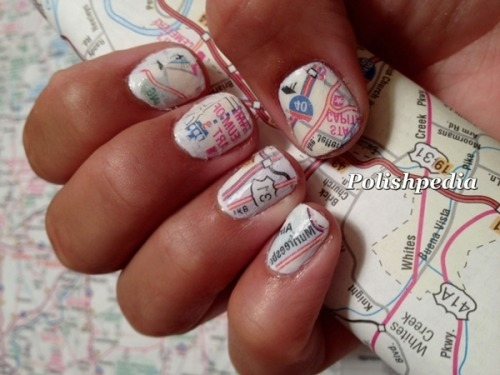 Check out how Polishpedia X. created these cute map nails!