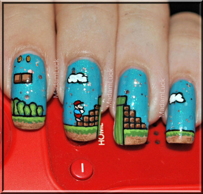 Super Mario Themed Nails! (via MadamLuck | Beautylish)