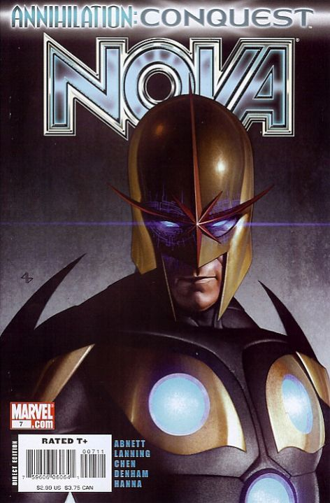 Nova v4 #7, December 2007, written by Dan Abnett and Andy Lanning, penciled by Sean Chen and Brian Denham