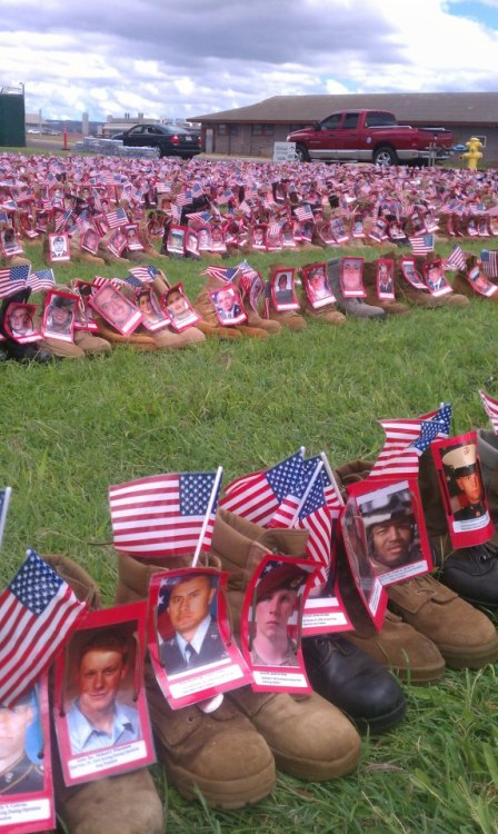 Boots for each fallen hero during the Afhganistan/Iraq war