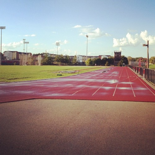 1 mile wu, 2x100, 2x200, 2x300, 2x400, 2x300, 2x200, 2x100, 1mile cd #running  (Taken with Instagram at Redbird Track and Field Complex)