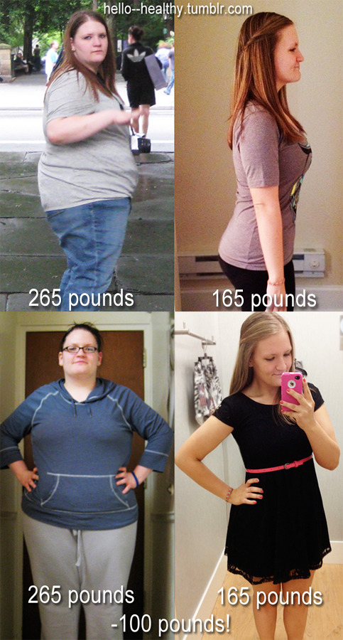 "1year2transform:  hello—healthy:  i've finally lost 100 pounds! healthy eating + exercise + moderation + a positive attitude + consistency = weight loss. that's the only ""secret"" there is :)"