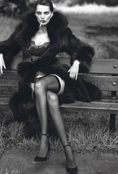 """Le Noir Part Four"", Daria Werbowy photographed by Mert Alas & Marcus Piggott in Vogue Paris September 2012"