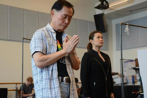 George Takei and Lea Salonga at a workshop of Allegiance held in New York City on July 15, 2011.