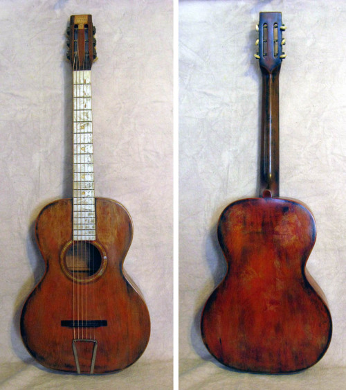 "hellhoundonmytrail:  Stella Concert Guitar, circa 1934 For pure ""Mojo"",  this guitar wins the prize! It carries its own history in Greek! There's a paper Label inside dated 1934 . Hand written in Modern Greek are several lines of poetry, written by an immigrant living in Los Angeles who apparently had a case of the blues. On the headstock it says - ""ΓΝΩΘΙ  Σ'ΑΥΤΟΝ "" - Know Thyself. Solid birch construction with no cracks. Fingerboard has a silver crystalline finish with inlaid gold sparkle position dots. The finish on the body and neck was customized in the dim reaches of the past, careful to leave the decalcomania rosette intact. This guitar has wonderful patina with more than its share of character. Stella Guitars & Other Oscar Schmidt Instruments"