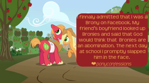 I hate my friend's boyfriend who despises Bronies and Pegasisters. I finnaly admitted that I was a Brony on Facebook. My friend's boyfriend looked up Bronies and said that God would think that  Bronies are an abomination. The next day at school I promptly slapped him in the face. Now my friend never talks about him when we are together or talk about MLP.