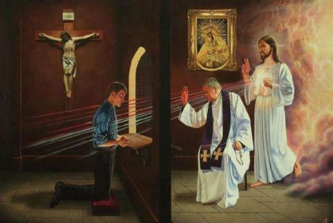 closertothelost:  In persona Christi  This is why we go to confession dears.
