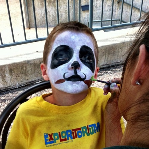 He's supposed to be a panda, but we think it's more like The Crow.  (Taken with Instagram)
